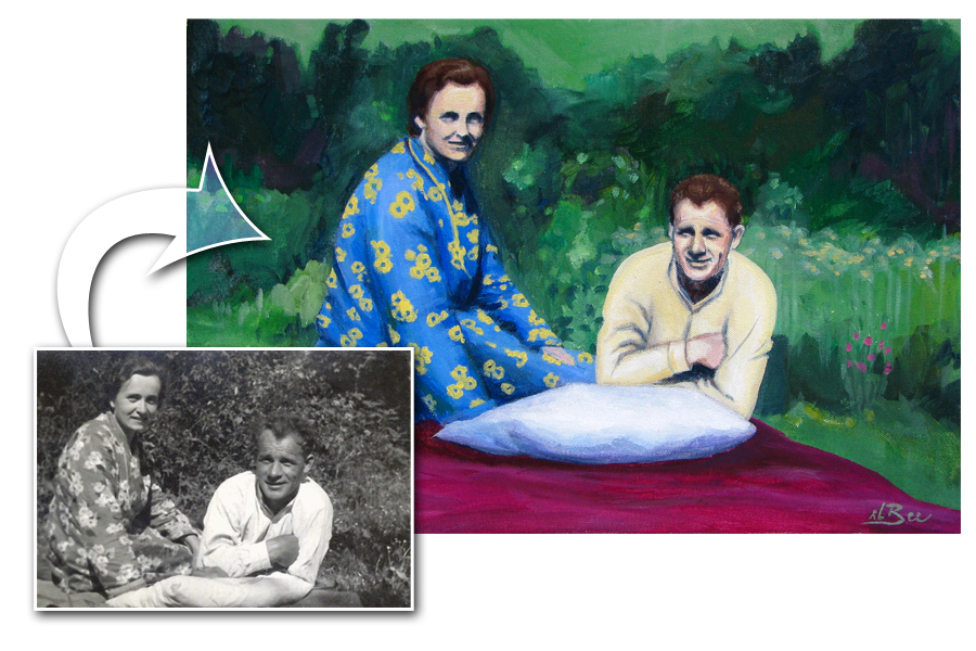 Portrét podle fotografie - Akrylové barvy, A4 (20x30)